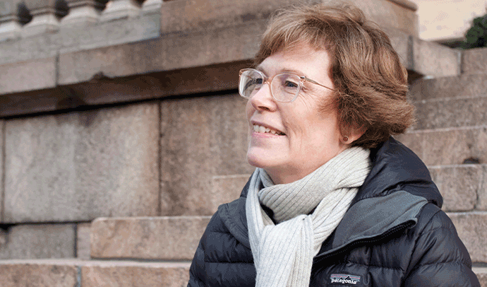 Bild på Christina Gestrin, den nya folktingssekreteraren.