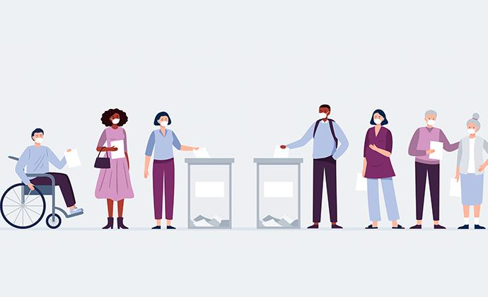 Illustrationsbild på människor som röstar i ett val.