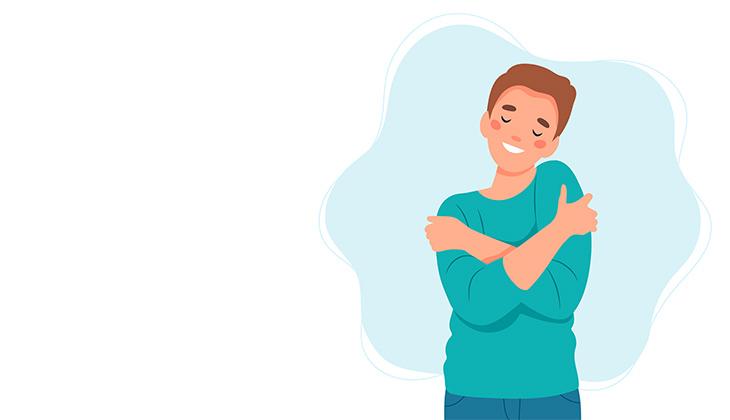 Illustrationsbild på en person som kramar sig själv.