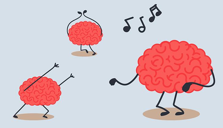 Illustartionsbild på dansande hjärnor.